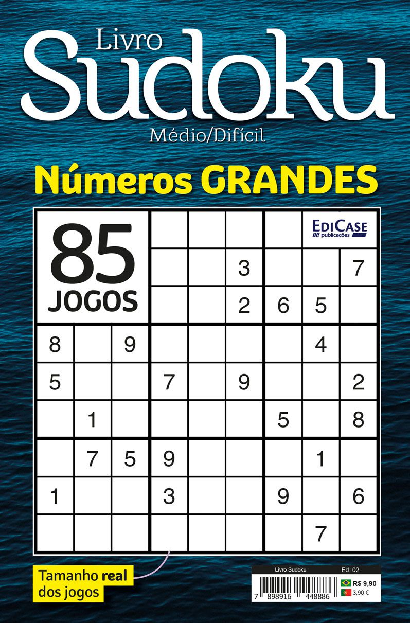 Livro Sudoku Ed. 02 - Médio/Difícil - Com Números Grandes - Só Jogos 9x9  - EdiCase Publicações