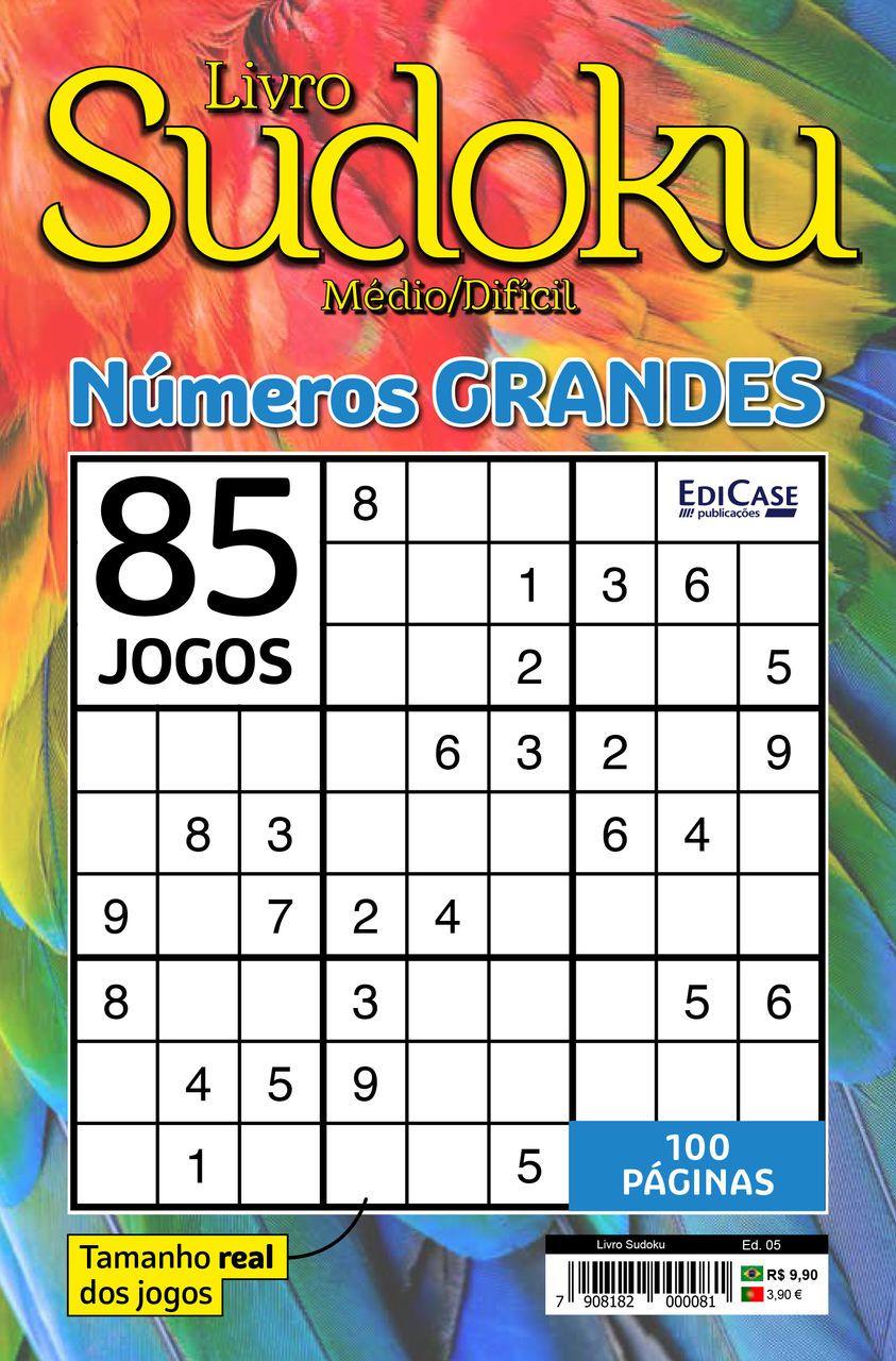 Livro Sudoku Ed. 05 - Médio/Difícil - Com Números Grandes - Só Jogos 9x9  - EdiCase Publicações