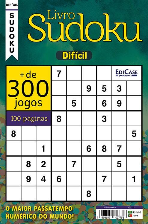 Livro Sudoku Ed. 11 - Difícil - Com Marcador de Tempo - Só Jogos 9x9   - EdiCase Publicações