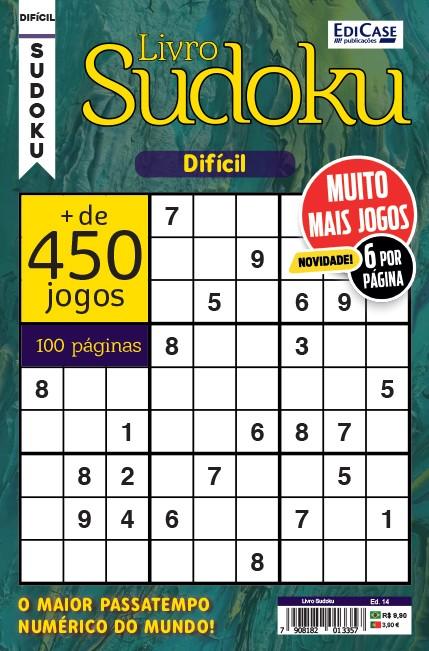 Livro Sudoku Ed. 14 - Difícil - Só Jogos 9x9 - 6 por página