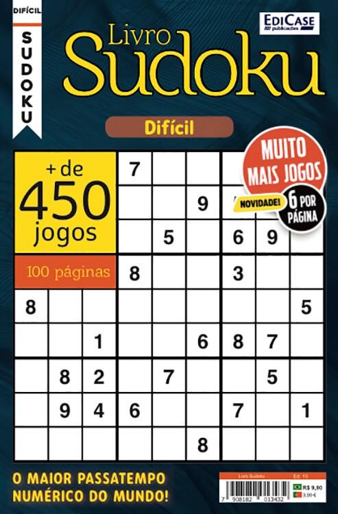 Livro Sudoku Ed. 15 - Difícil - Só Jogos 9x9 - 6 Jogos por página