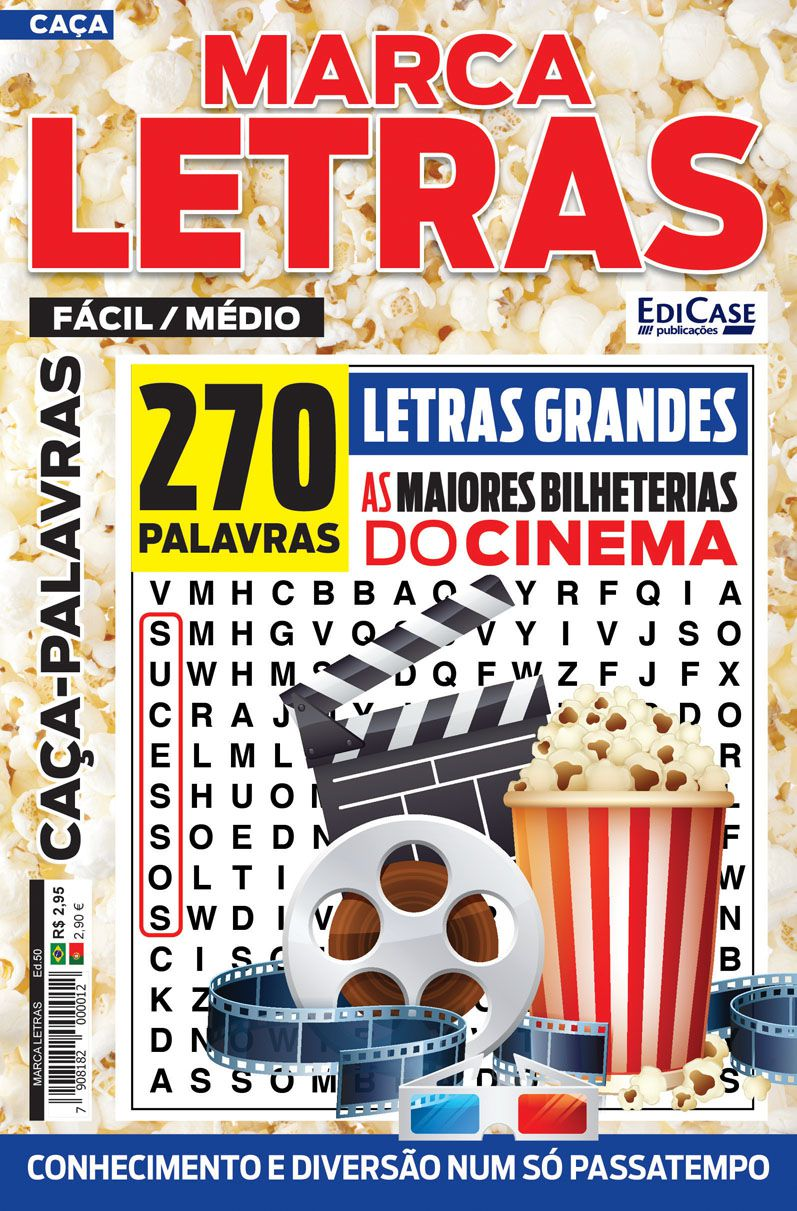 Marca Letras Ed. 50 - Fácil/Médio - Letras Grandes - Tema: As Maiores Bilheterias do Cinema