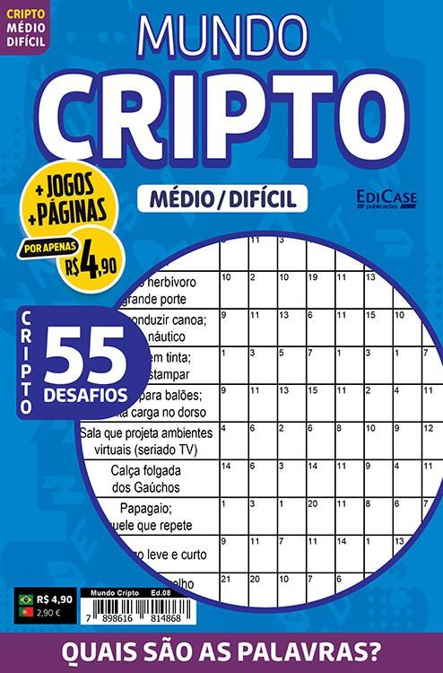Mundo Cripto Ed. 08 - Médio/Difícil - 55 Desafios  - EdiCase Publicações