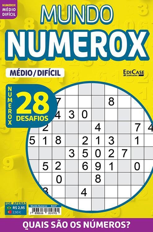 Mundo Numerox Ed. 07 - Médio/Difícil - 28 Desafios  - EdiCase Publicações