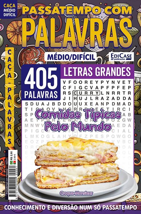Passatempos Com Palavras Ed. 81 - Médio/Difícil - Letras Grandes - Comidas Típicas Pelo Mundo