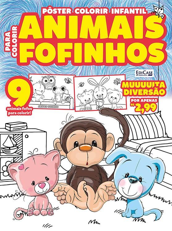 Pôster Colorir Infantil Ed. 01 - Animais Fofinhos  - EdiCase Publicações