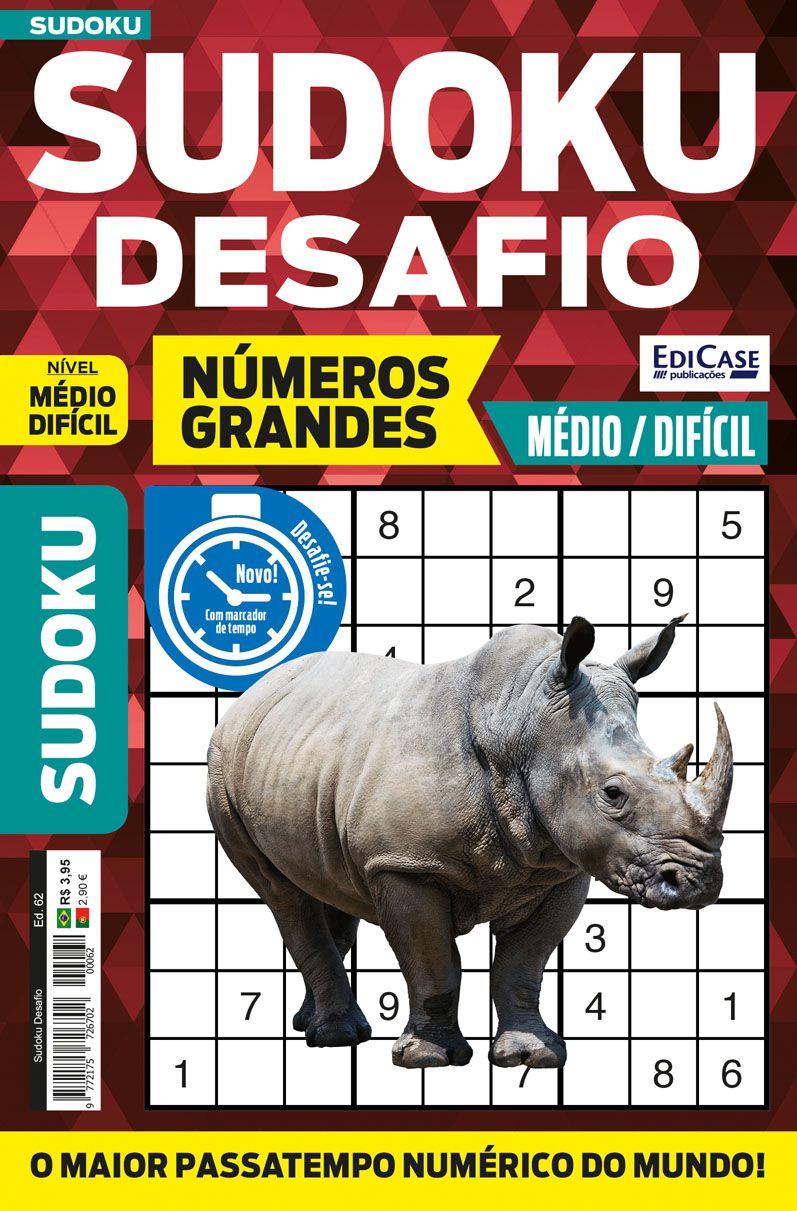 Sudoku Desafio Ed. 62 - Médio/Difícil - Só Jogos 9x9 - Números Grandes  - EdiCase Publicações
