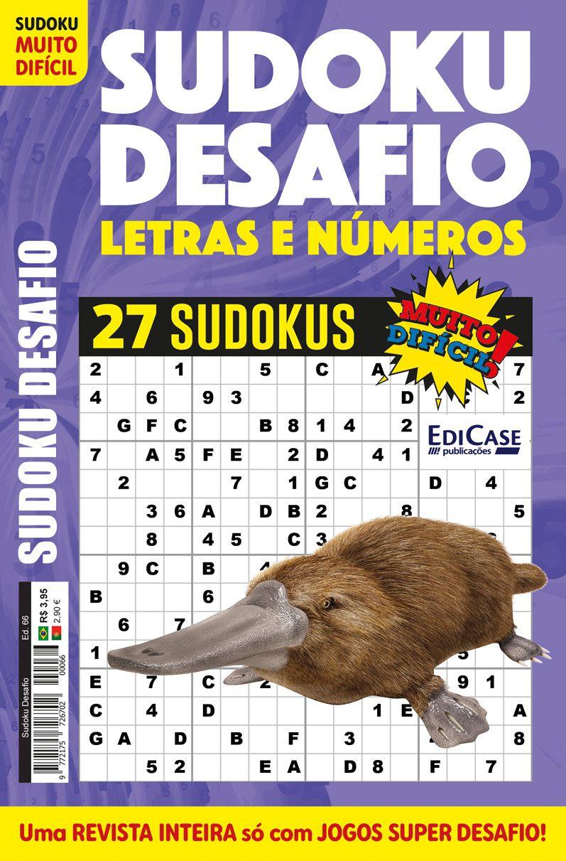 Sudoku Desafio Ed. 66 - Muito Difícil - Só Super Desafio - Com Letras e Números  - EdiCase Publicações