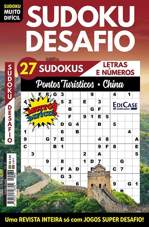 Sudoku Desafio Ed. 72 - Muito Difícil - Só Super Desafio - Com Letras e Números - Pontos Turísticos (China)  - EdiCase Publicações