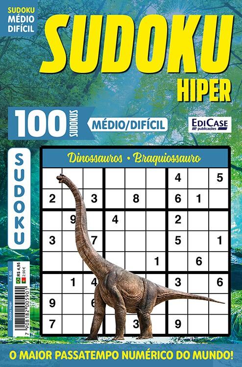 Sudoku Hiper Ed. 60 - Médio/Difícil - Só Jogos 9x9 - Dinossauros - Braquiossauro   - EdiCase Publicações