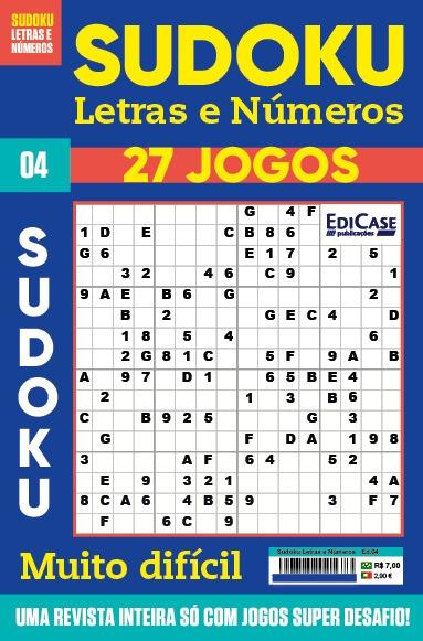 Sudoku Letras e Números Ed.04 - MUITO DIFÍCIL - SÓ SUPER DESAFIO - 27 jogos