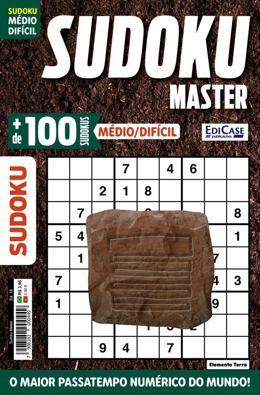 Sudoku Master Ed. 18 - Médio/Difícil - Só jogos 9x9 - Elemento Terra  - EdiCase Publicações