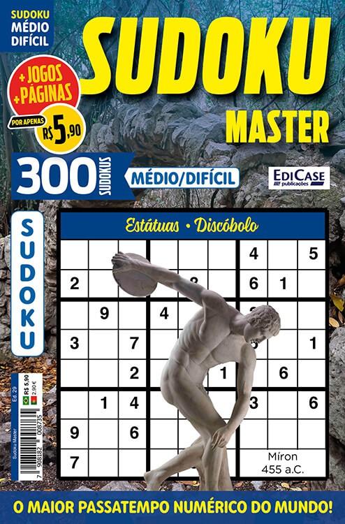 Sudoku Master Ed. 29 - Médio/Difícil - Só jogos 9x9 - Período - Estátuas - Discóbolo    - EdiCase Publicações