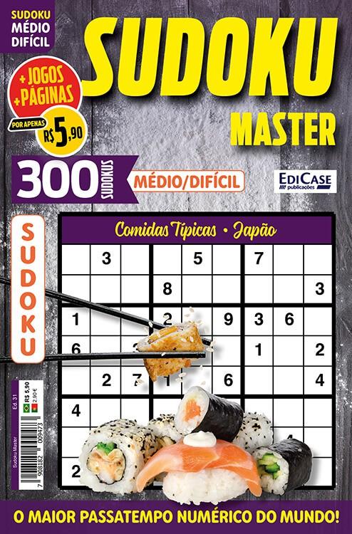 Sudoku Master Ed. 31 - Médio/Difícil - Só jogos 9x9 - Período - Comidas Típicas - Japão   - EdiCase Publicações
