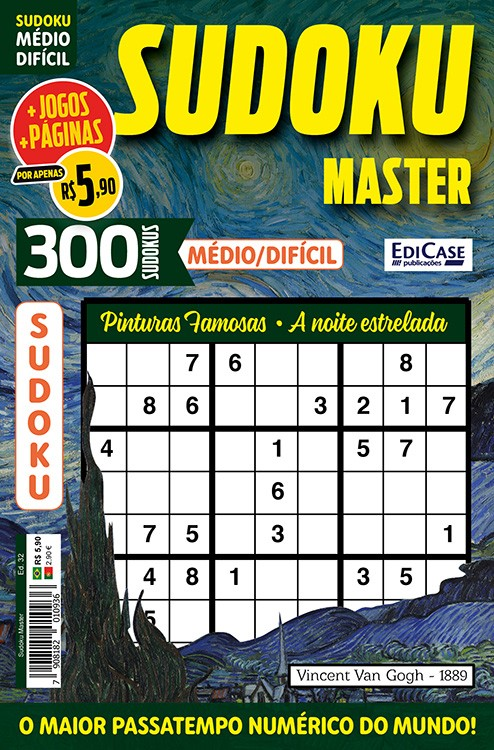 Sudoku Master Ed. 32 - Médio/Difícil - Só jogos 9x9 - Pinturas famosas - A noite estrelada