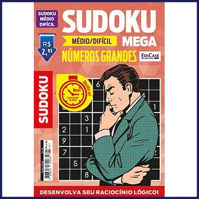 Sudoku Mega Ed. 04 - Médio/Difícil - Com Números Grandes - Só Jogos 9x9  - EdiCase Publicações