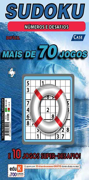 Sudoku Números e Desafios Ed. 101 - Difícil - Jogos 9x9 + 10 jogos Super-Desafio  - EdiCase Publicações