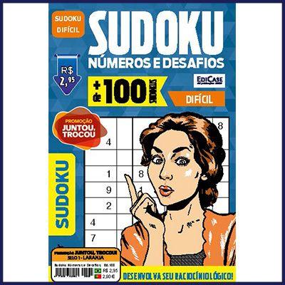 Sudoku Números e Desafios Ed. 108 - Difícil - Só Jogos 9x9  - EdiCase Publicações