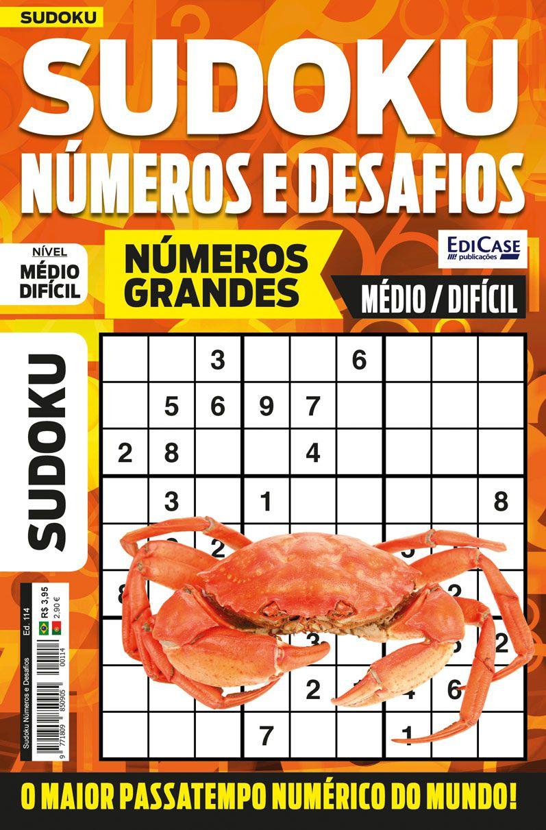 Sudoku Números e Desafios Ed. 114 - Médio/Difícil - Só Jogos 9x9 - Números Grandes   - EdiCase Publicações