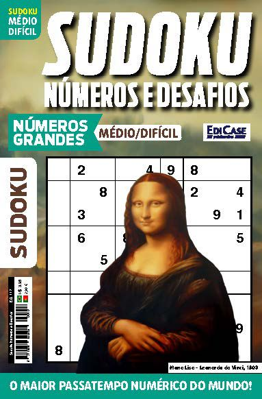 Sudoku Números e Desafios Ed. 117 - Médio/Difícil - Só Jogos 9x9 - Números Grandes - Mona Lisa
