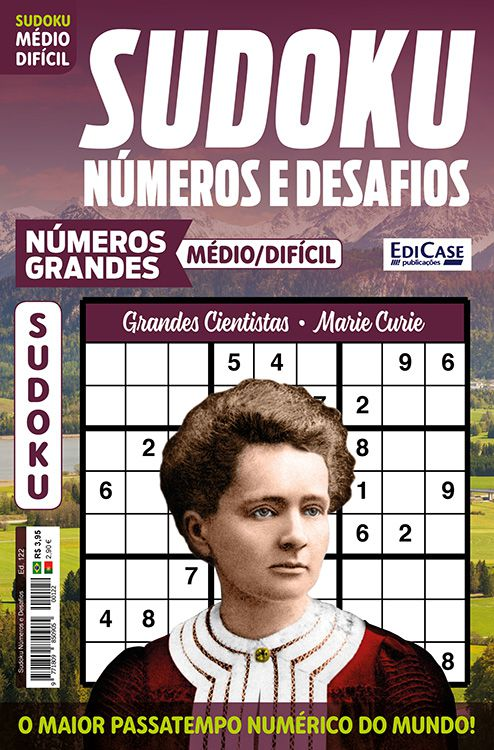 Sudoku Números e Desafios Ed. 122 - Médio/Difícil - Só Jogos 9x9 - Números Grandes - Grandes Cientistas - Marie Curie  - EdiCase Publicações