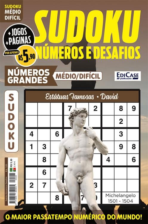 Sudoku Números e Desafios Ed. 125 - Médio/Difícil - Só Jogos 9x9 - Números Grandes - Estátuas Famosas - David