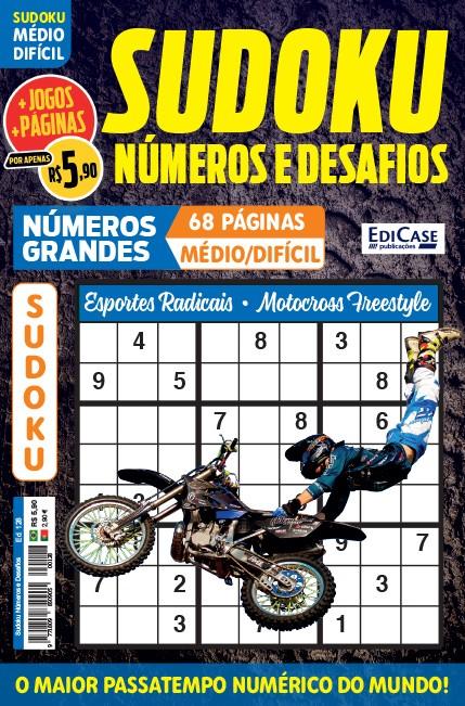 Sudoku Números e Desafios Ed. 128 - Médio/Difícil - Só Jogos 9x9 - Números Grandes - Esportes Radicais - Motocross Freestyle