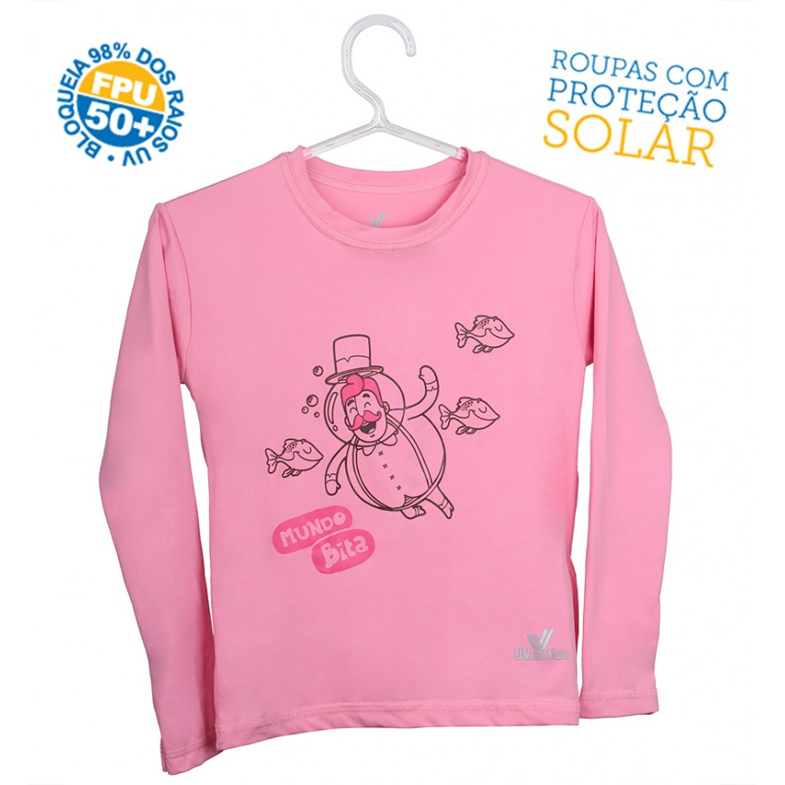 Camiseta Mundo Bita Rosa Longa – UV.action  - Lojinha do Bita