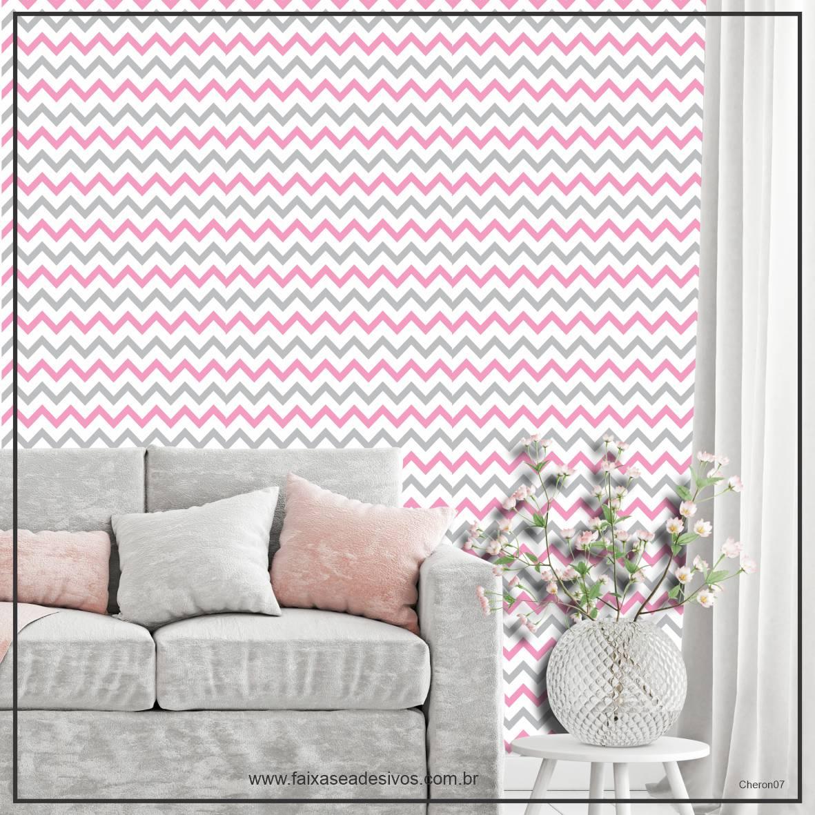 010 - Adesivo Decorativo de parede Chevron rosa e cinza - 58cm larg  - Fac Signs
