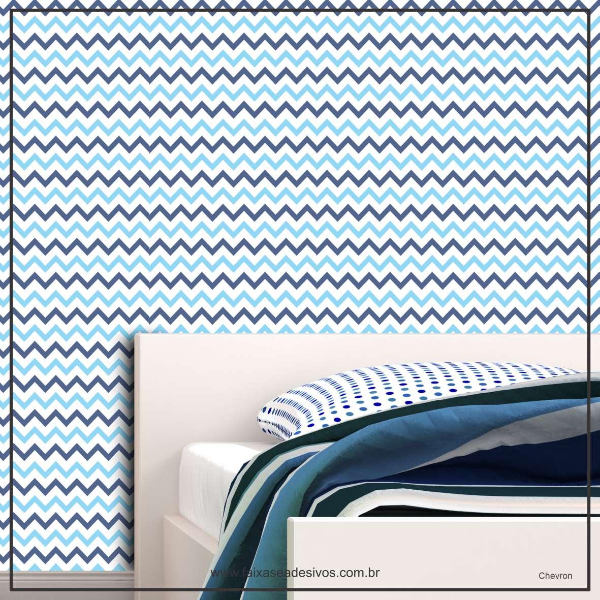 005 - Adesivo Decorativo de parede Chevron Azul - 58cm larg  - FAC Signs Impressão Digital