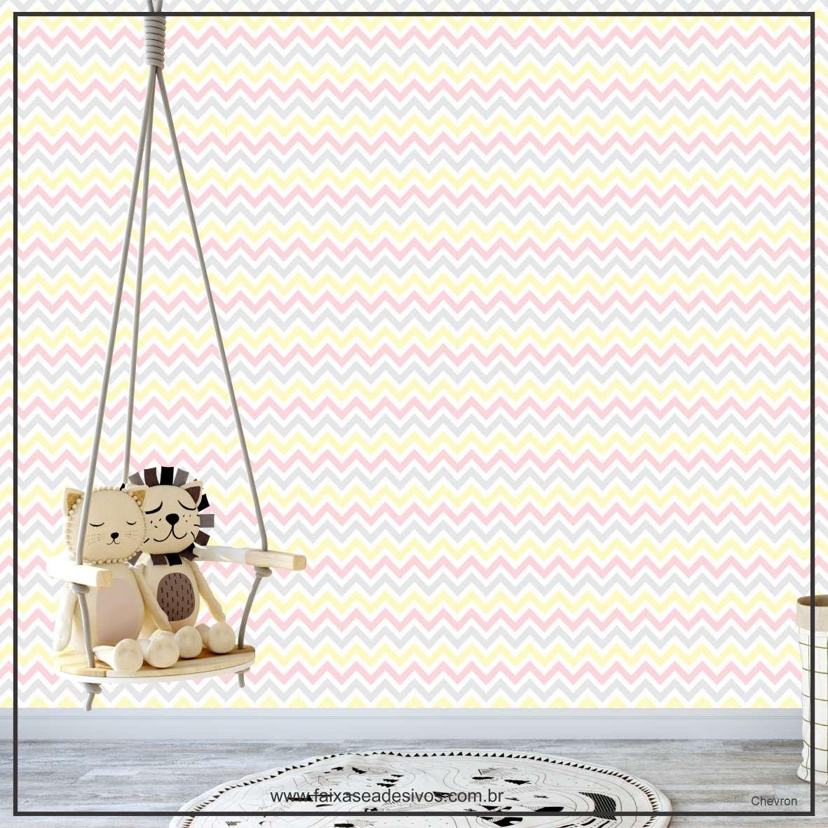 008 - Adesivo Decorativo de parede Chevron Amarelo e cinza - 58cm larg  - Fac Signs