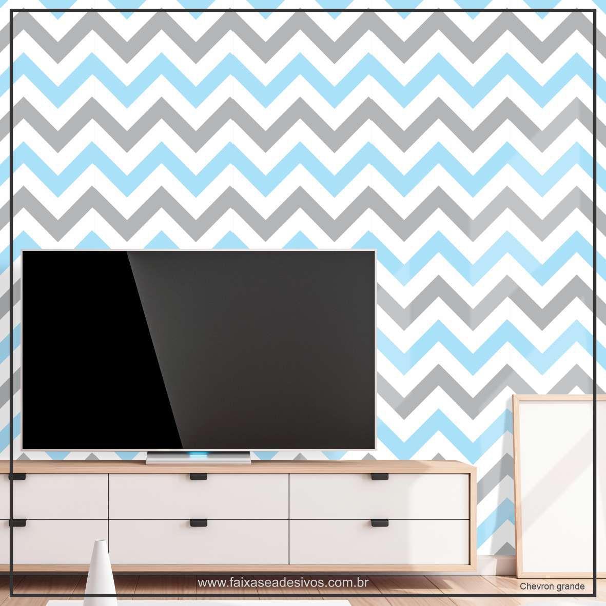 009 - Adesivo Decorativo de parede Chevron grande azul e cinza - 58cm larg  - Fac Signs