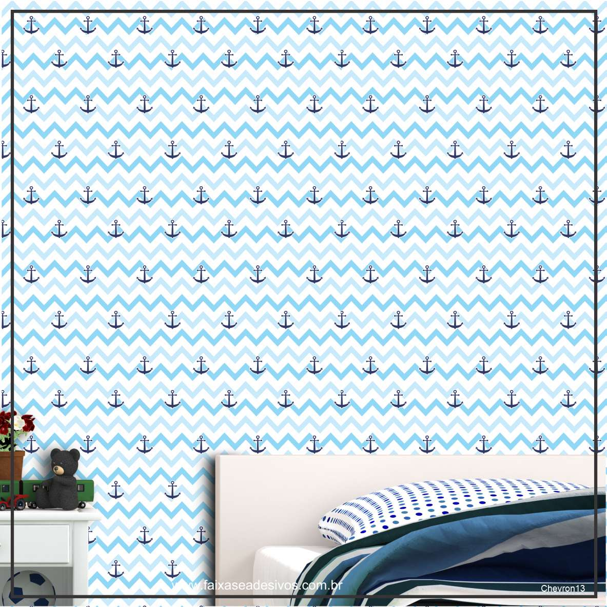 012 - Adesivo Decorativo de parede Chevron ancora - 58cm larg  - Fac Signs