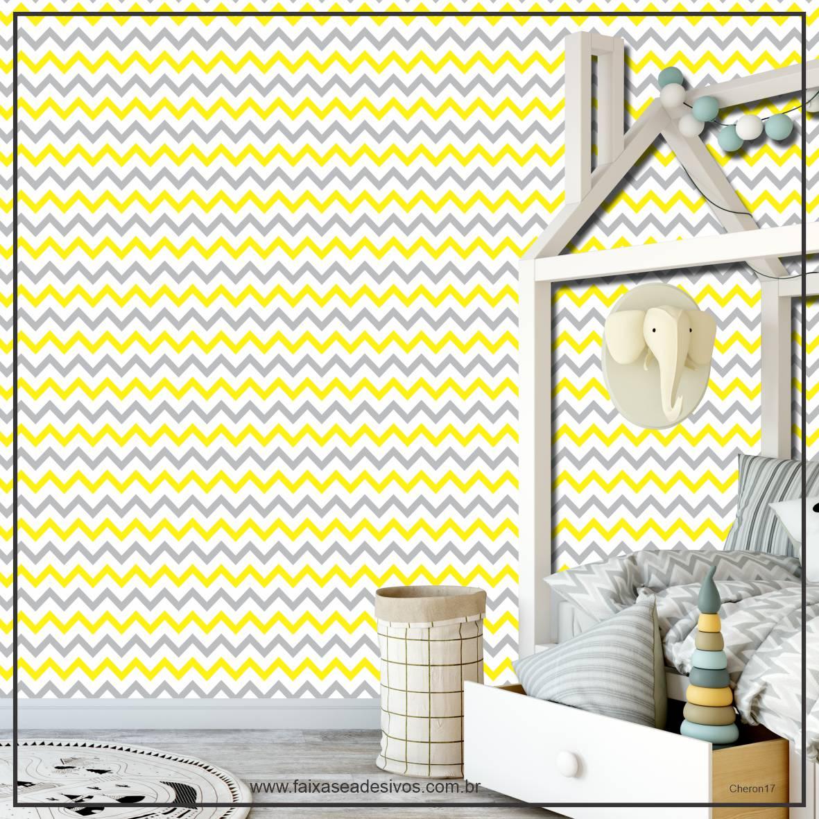 013 - Adesivo Decorativo de parede Chevron amarelo - 58cm larg  - Fac Signs