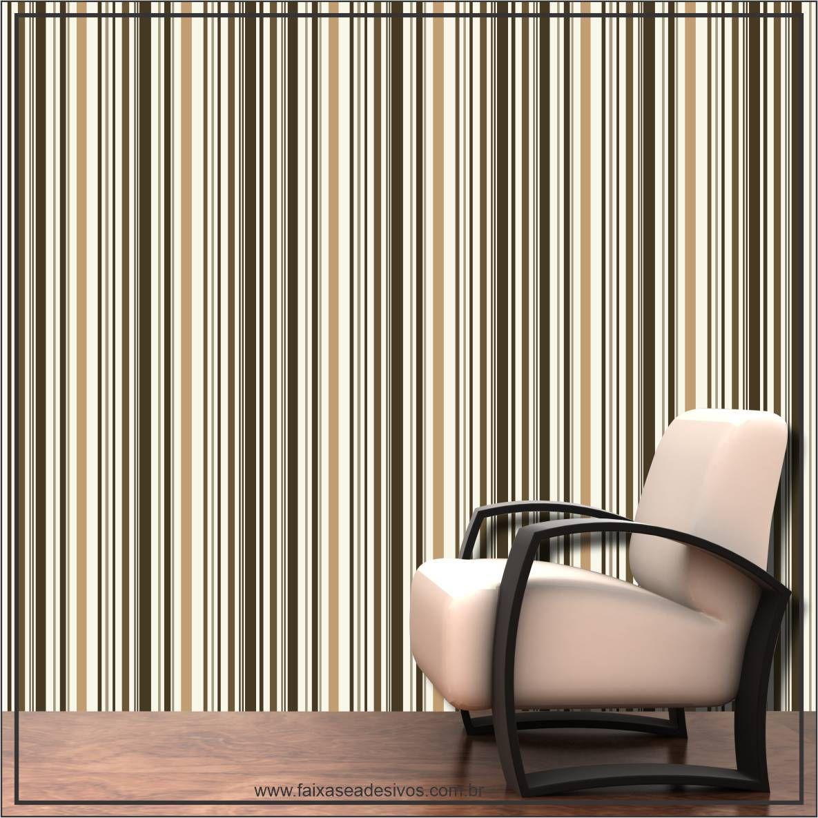 018 - Adesivo Decorativo de parede Listras ocre - 58cm larg  - Fac Signs