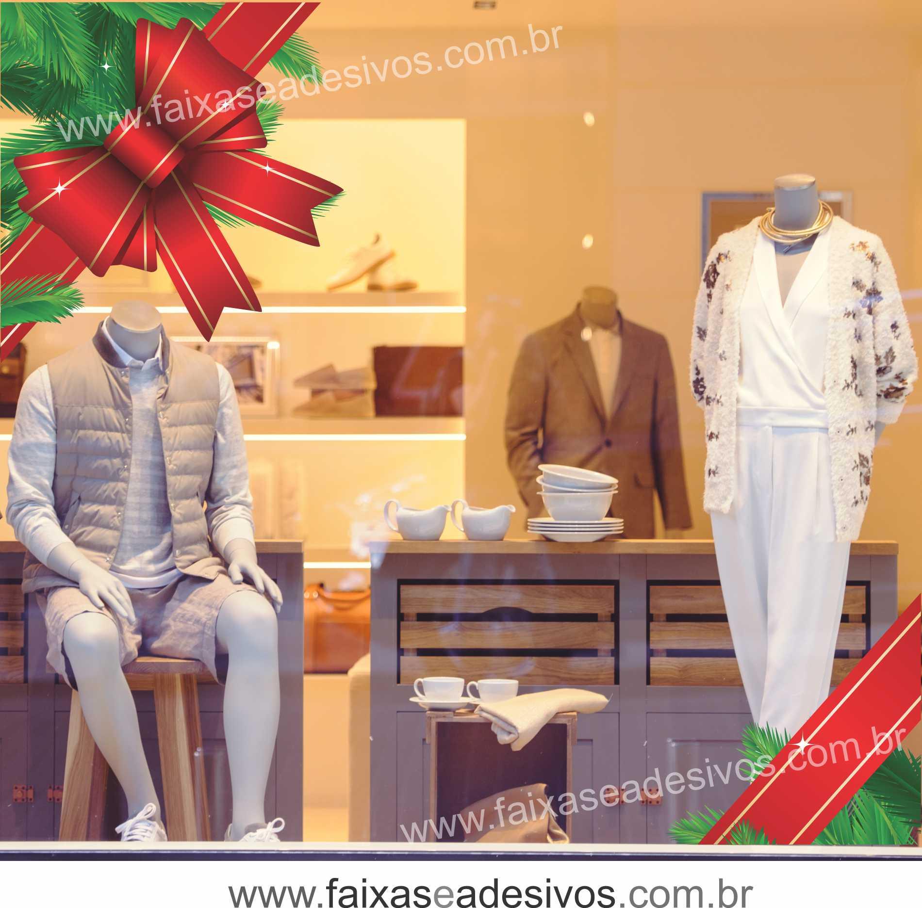 0192 - Adesivo Natal Laço de Canto  - Fac Signs