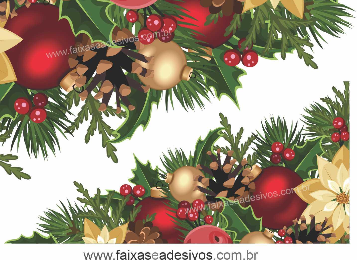 0196 - Adesivo Natal Laço de Canto  - Fac Signs