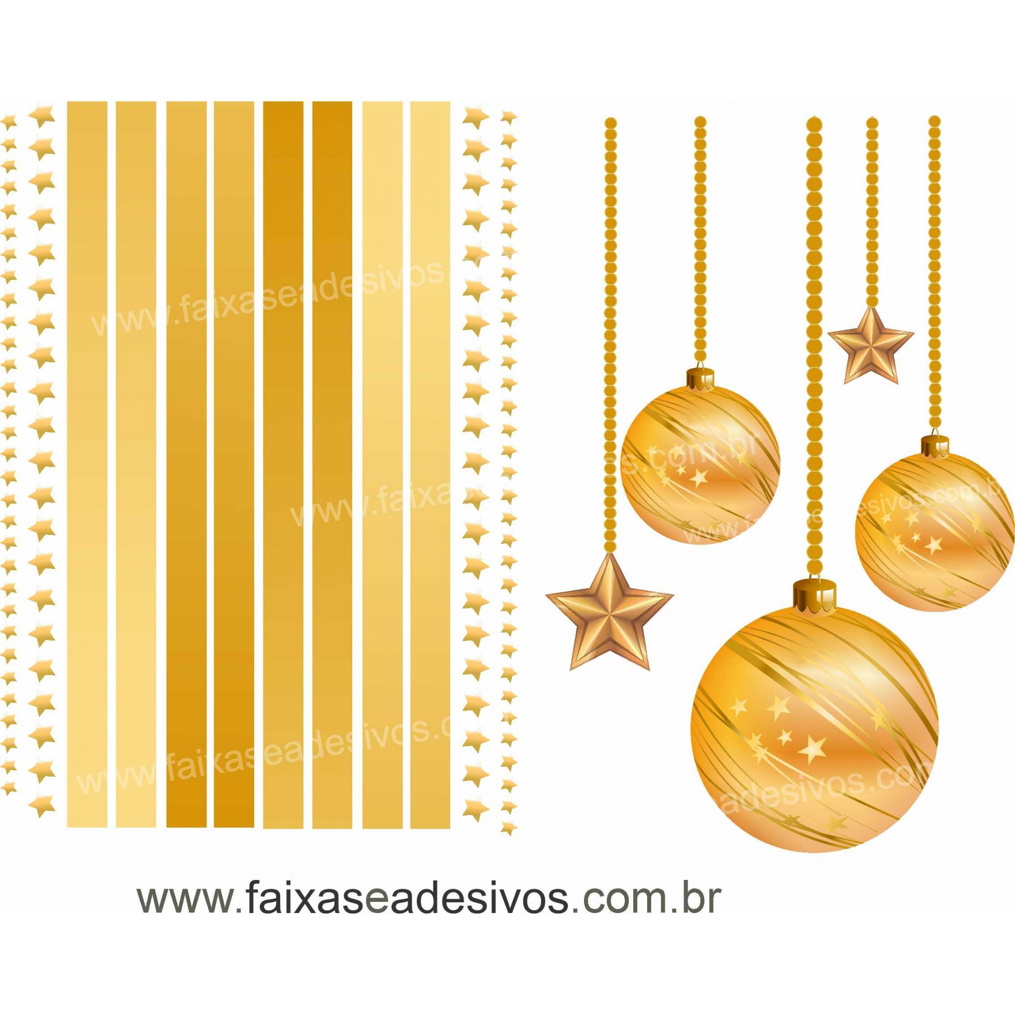 0199 - Adesivo Moldura Vitrine Dourada  - Fac Signs