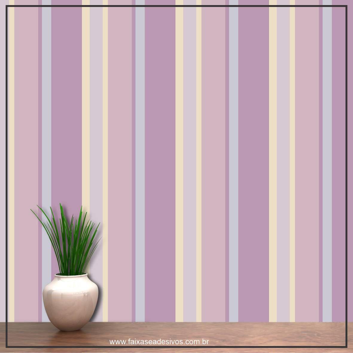 019 - Adesivo Decorativo de parede Listras lilás - 58cm larg  - Fac Signs