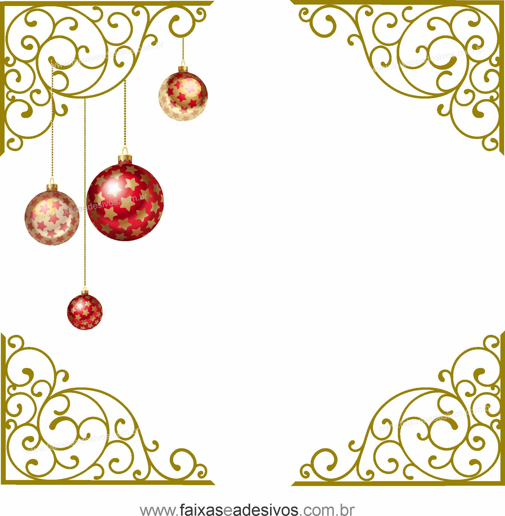 0200 - Adesivo Cantoneira de Natal Ornamental  - Fac Signs