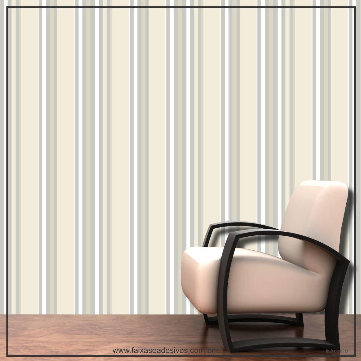 020 - Adesivo Decorativo de parede Listras pastel e cinza - 58cm larg  - Fac Signs