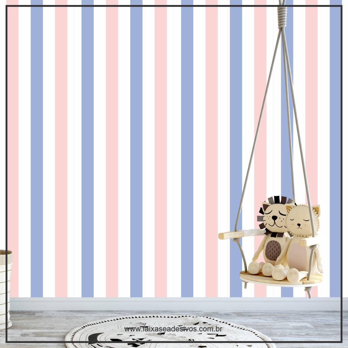 021 - Adesivo Decorativo de parede Listras azul e rosa - 58cm larg  - FAC Signs Impressão Digital