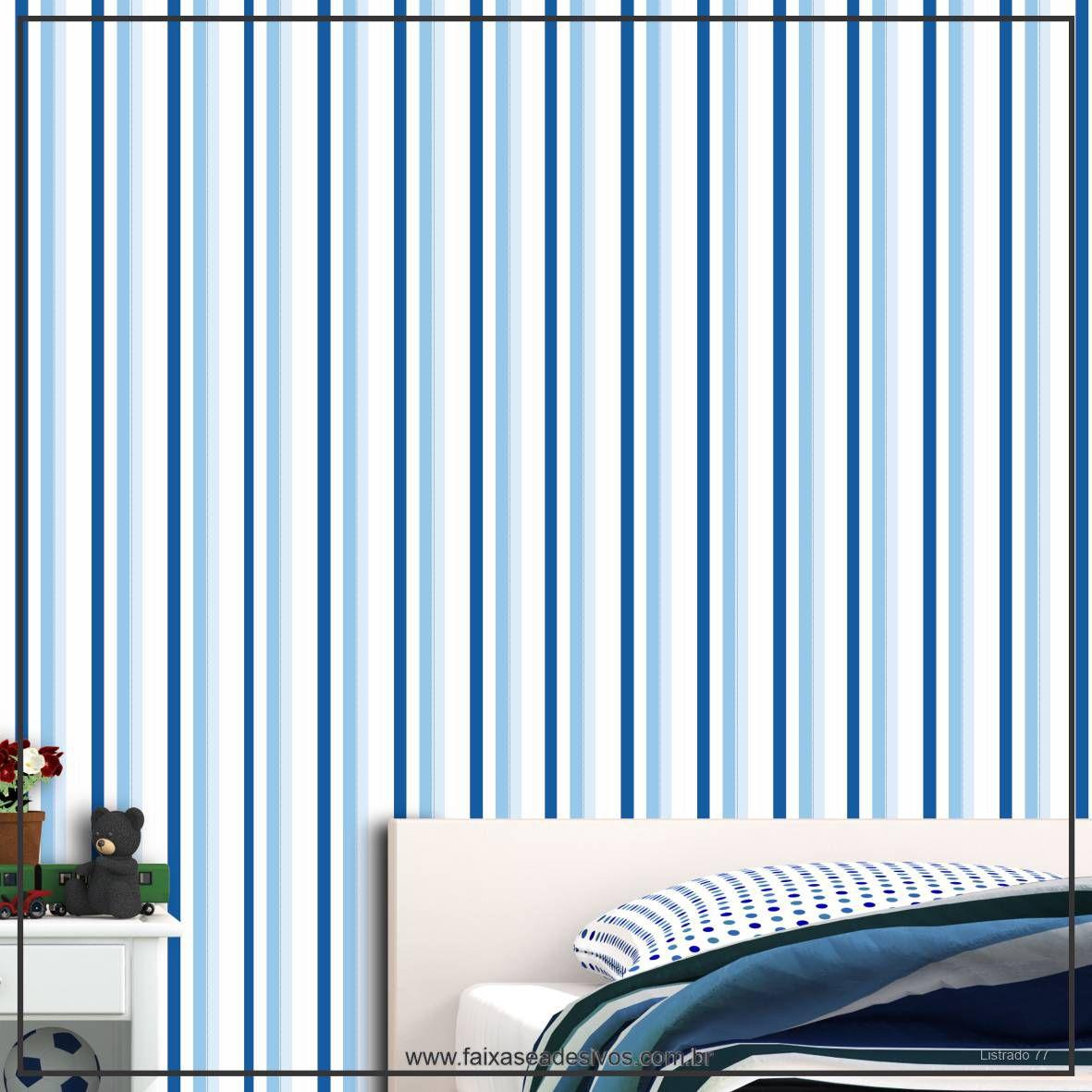 022 - Adesivo Decorativo de parede Listras azul fino - 58cm larg  - Fac Signs