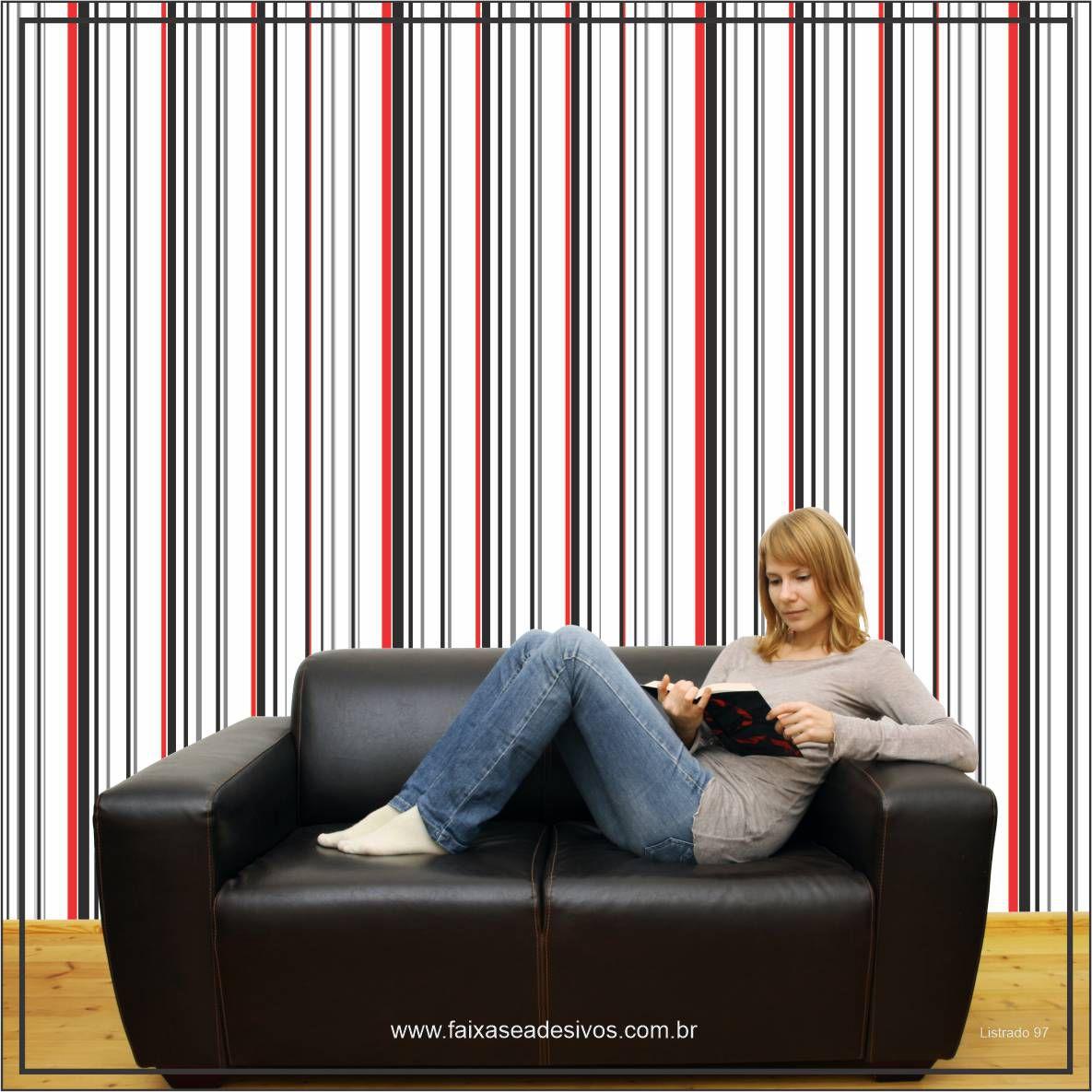 025 - Adesivo Decorativo de parede Listras preto e vermelho - 58cm larg  - Fac Signs