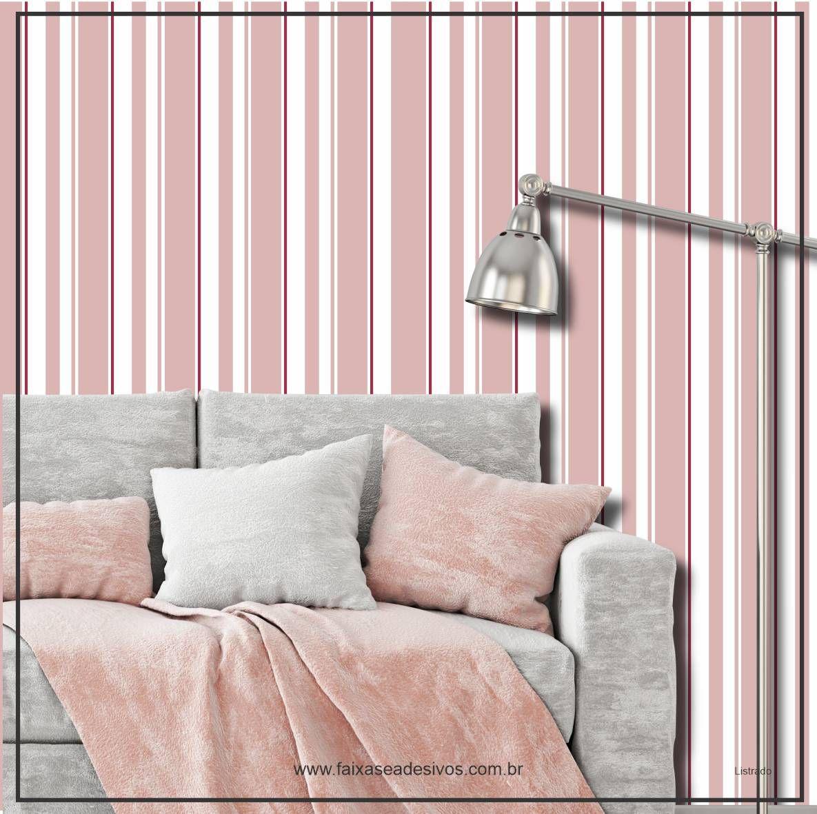 026 - Adesivo Decorativo de parede Listras larga rosa - 58cm larg  - Fac Signs