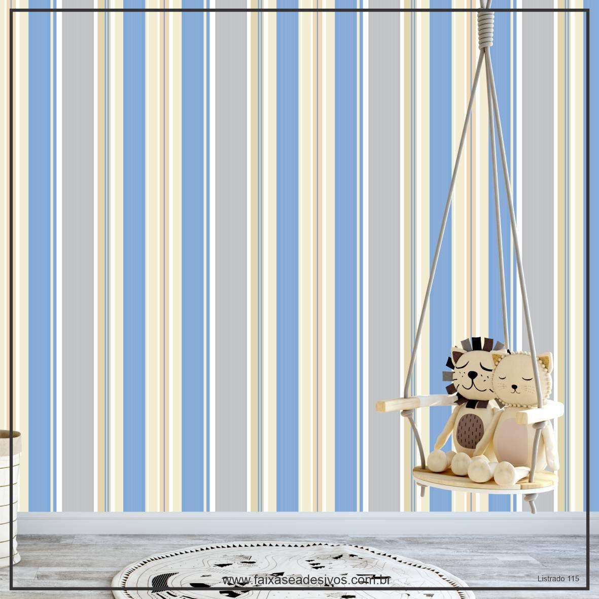 027 - Adesivo Decorativo de parede Listras azul com pastel - 58cm larg  - FAC Signs Impressão Digital