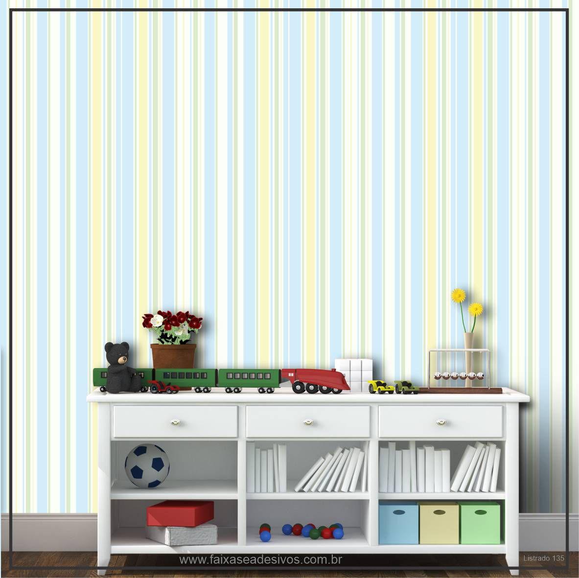 028 - Adesivo Decorativo de parede Listras verdinho - 58cm larg  - Fac Signs