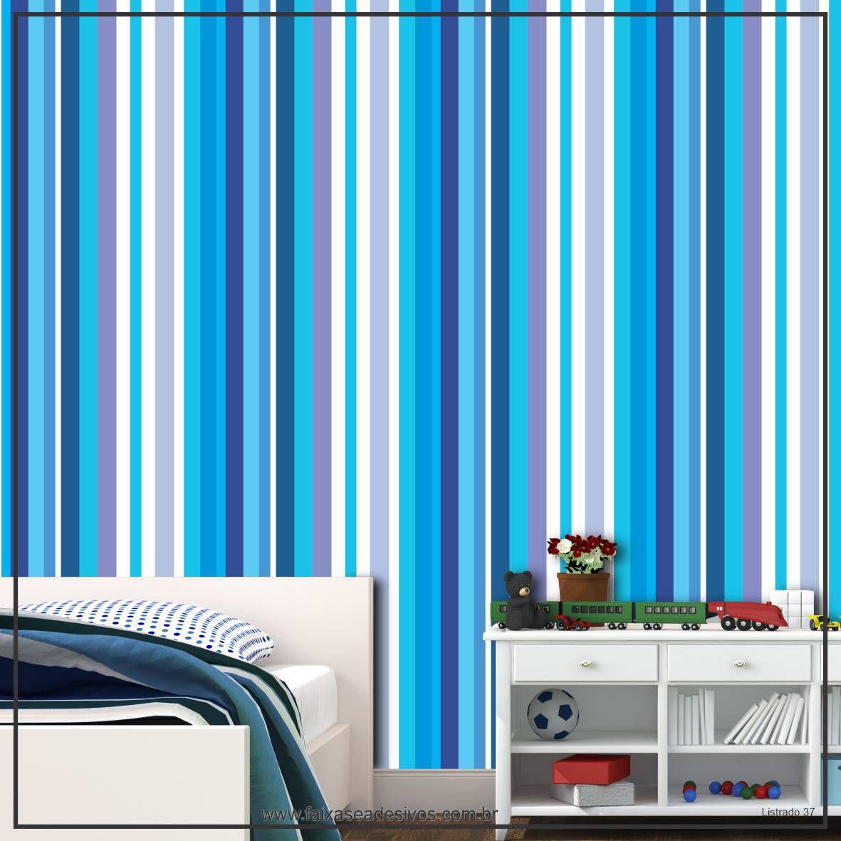 029 - Adesivo Decorativo de parede Listras azul forte - 58cm larg  - Fac Signs