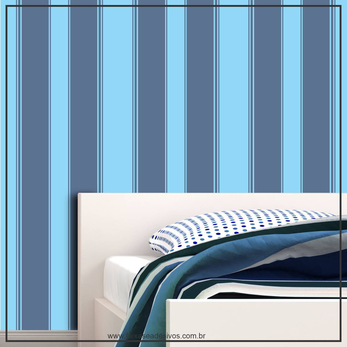 030 - Adesivo Decorativo de parede Listras azul 2 tons - 58cm larg  - Fac Signs