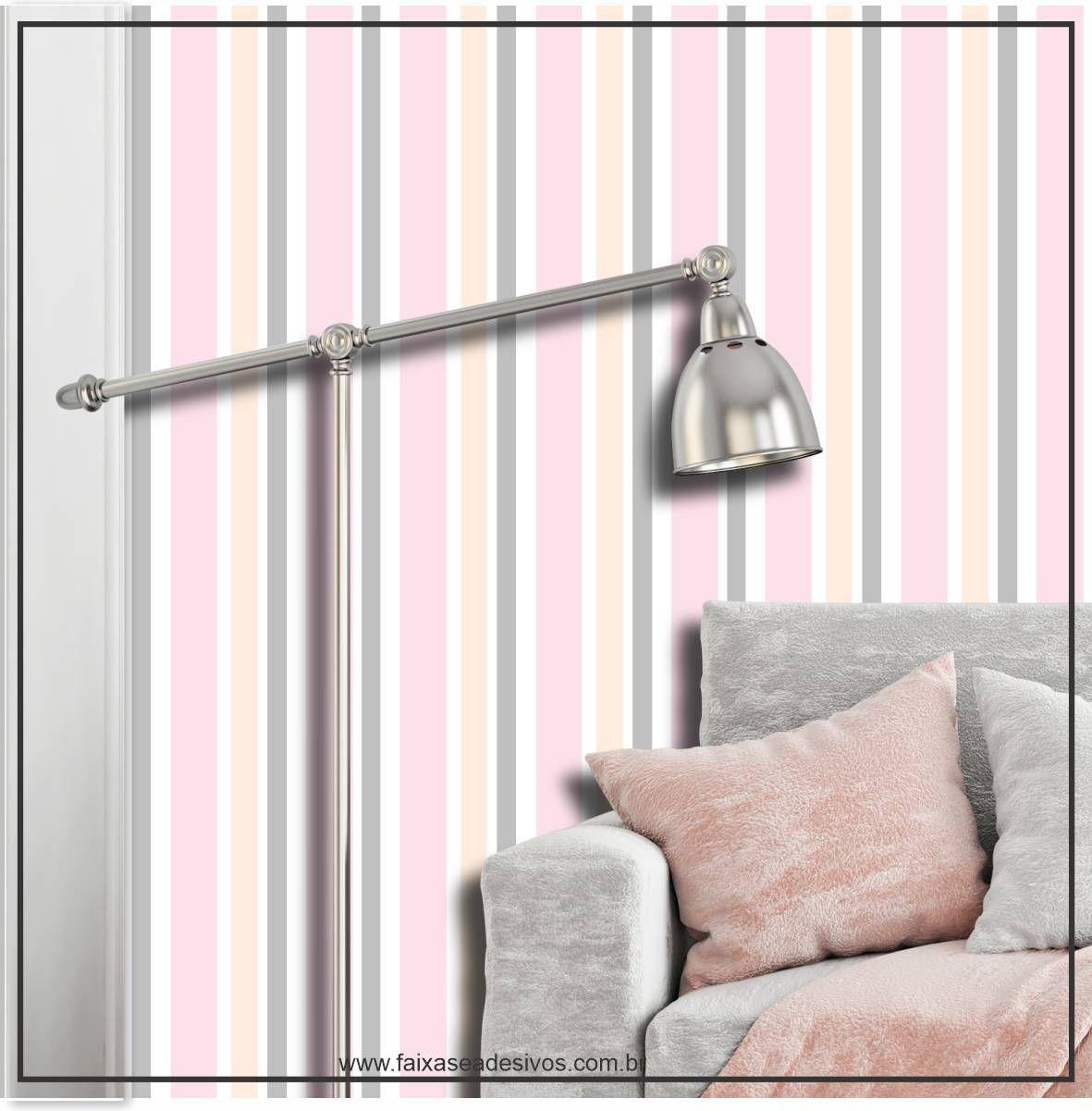 031 - Adesivo Decorativo de parede Listras finas rosa - 58cm larg  - Fac Signs